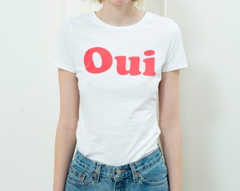 e1a479a9 90s oui non french feminist graphic tshirt small | french text graphic tee  | white red french new wave tee | oui non mod godard text shirt