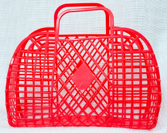 red plastic market bag grocery tote