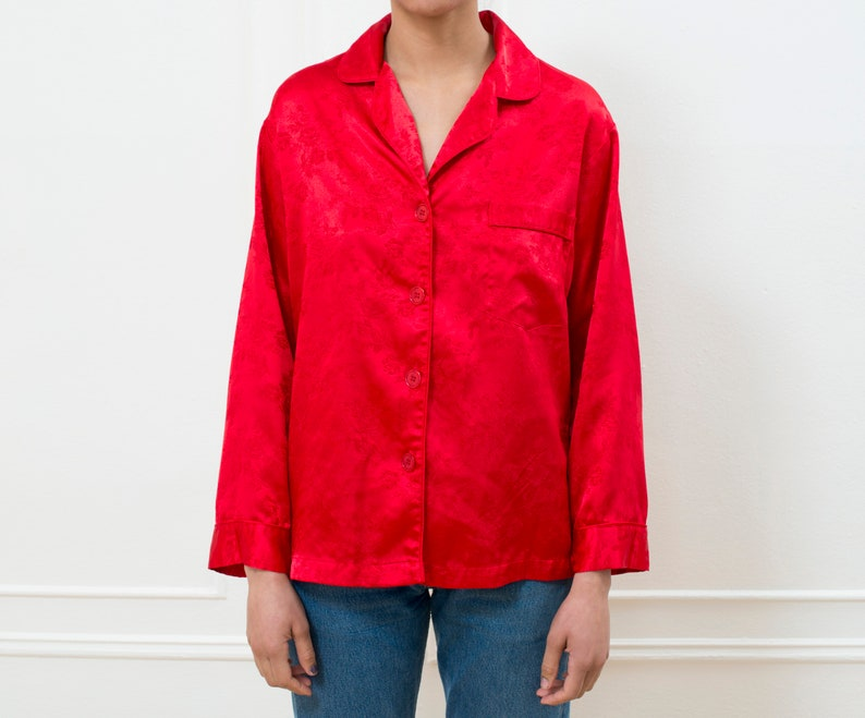 red silky pajama top 90s victoria/'s secret red button down shirt minimal red silky blouse minimalist red pajama shirt