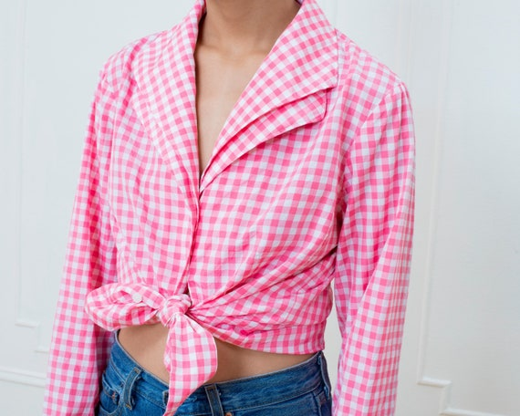 80s pink gingham silk blouse large | pink check p… - image 2