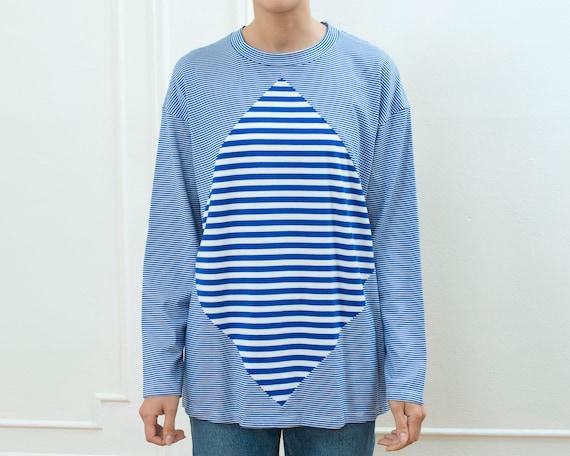 80s blue striped tshirt   bright blue striped long