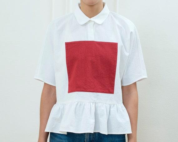 80s white peter pan collar peplum blouse   graphic