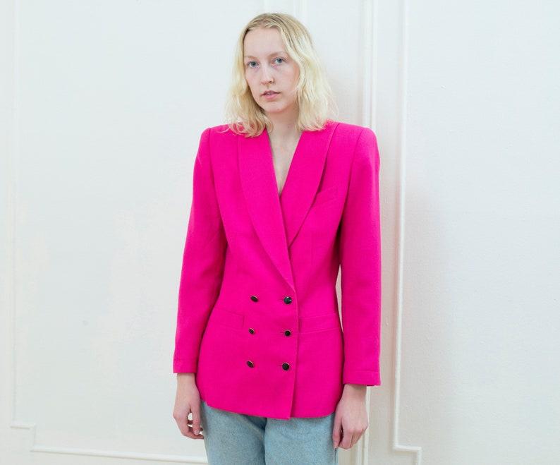 deb2842781 80s pink power suit blazer medium double breasted big