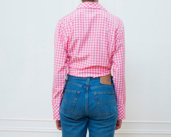 80s pink gingham silk blouse large | pink check p… - image 5