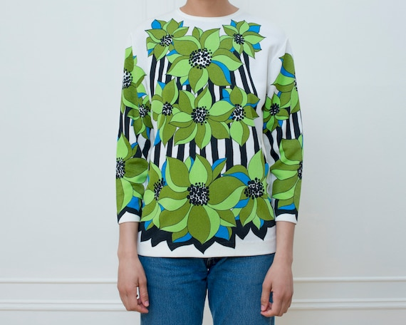 green psychedelic floral print top small | flower