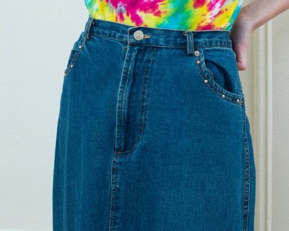 80s denim maxi skirt large | studded jean skirt |… - image 2