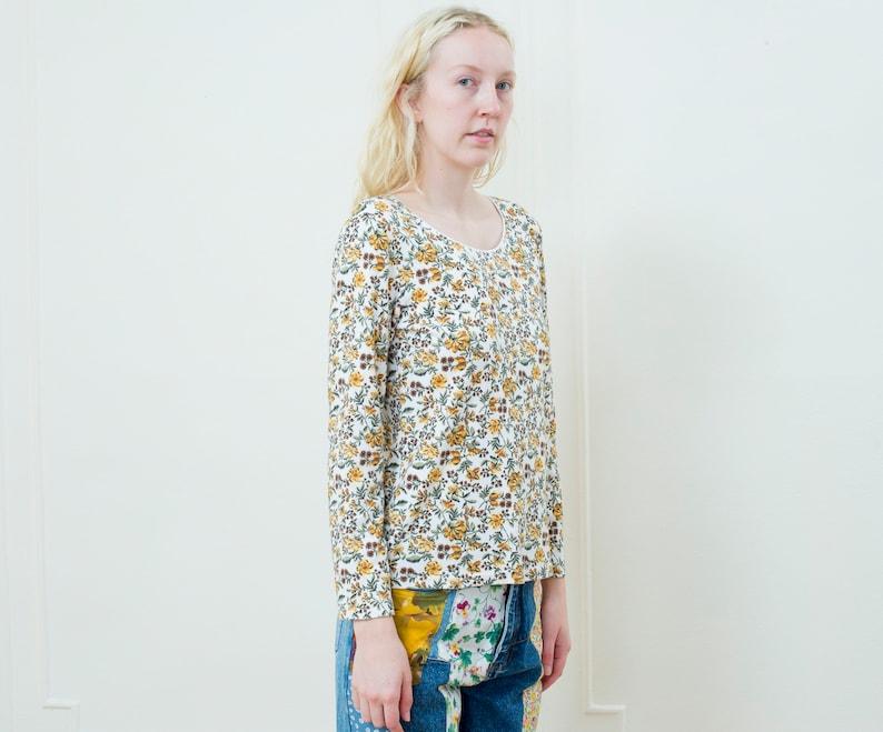 5484b32fd57be yellow floral t shirt   90s flower print 3/4 sleeve tee   cotton sunflower  print tshirt
