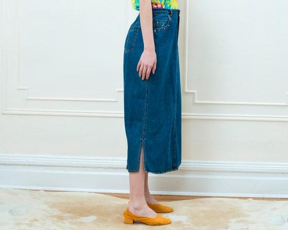 80s denim maxi skirt large | studded jean skirt |… - image 6