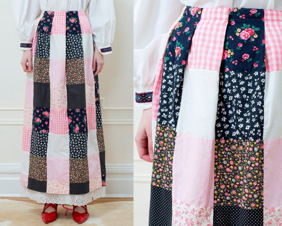 70s pink quilted maxi skirt medium   floral patchw