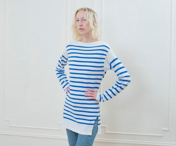 blue striped breton t shirt | 70s long striped cot