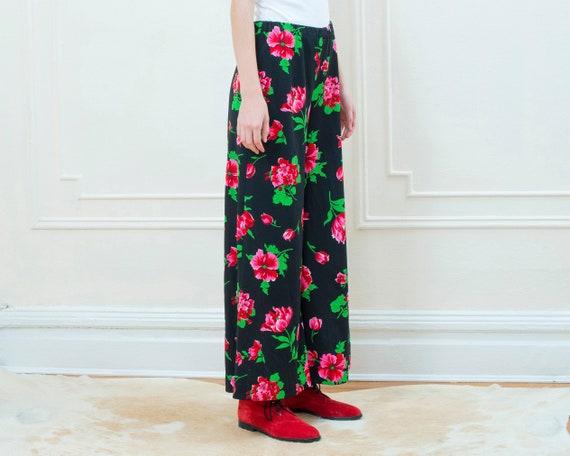 70s black floral pants | pink flower print wide l… - image 5