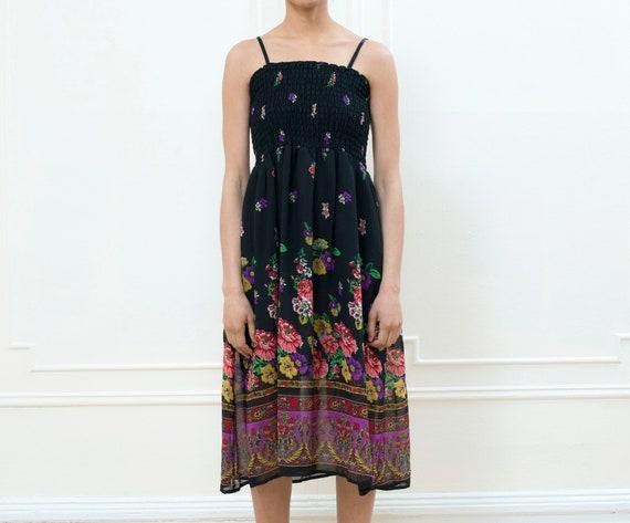 70s black floral hippie dress   scarf print midi d