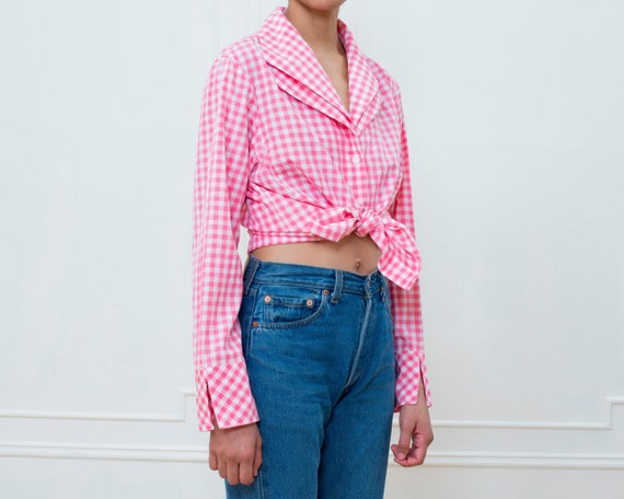 80s pink gingham silk blouse large | pink check p… - image 3