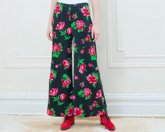 70s black floral pants | pink flower print wide le
