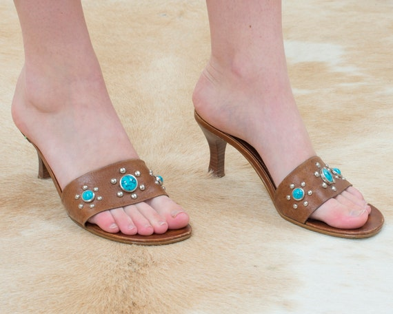 90s y2k brown leather slide sandals | turquoise st