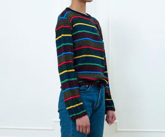 sweater striped 1970s sparkle 70s multi sweater stripe rainbow waist drawstring crewneck rainbow striped color sweater vintage knit qEzTnT