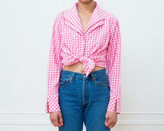 80s pink gingham silk blouse large | pink check p… - image 1
