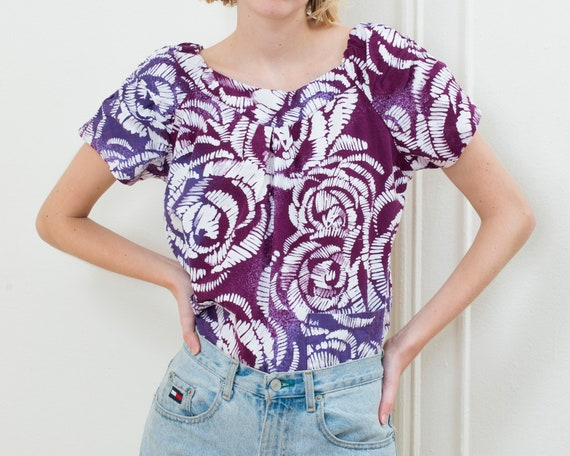 80s purple wax print blouse | puff sleeve african