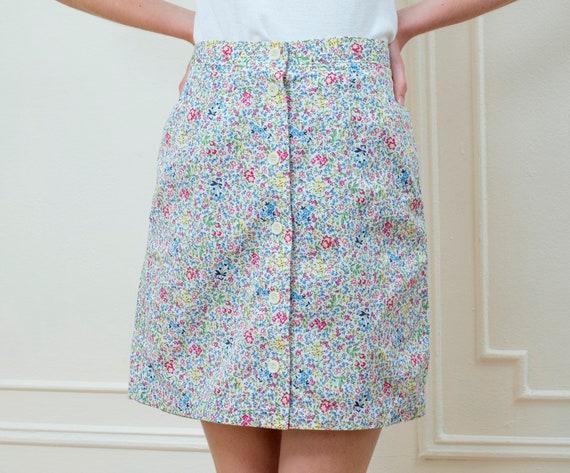 multicolor floral skort medium | 80s button down f