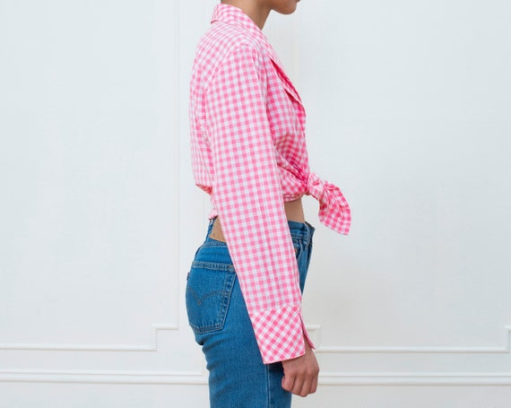 80s pink gingham silk blouse large | pink check p… - image 4