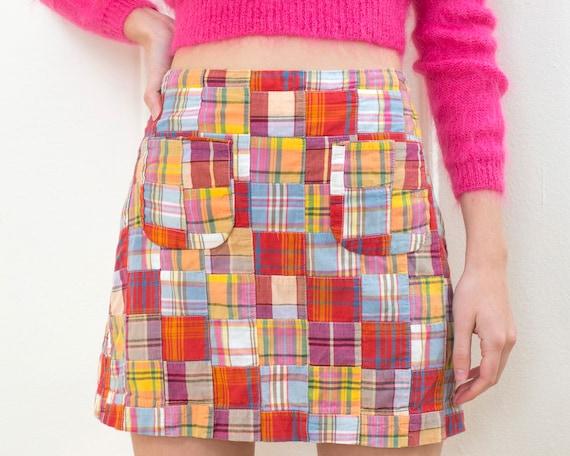90s multicolor patchwork mini skirt medium | prepp