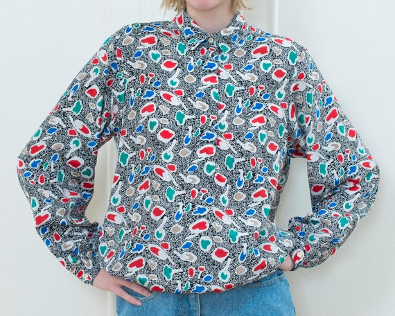 80s multicolor button down shirt | large abstract