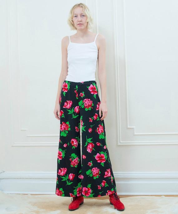 70s black floral pants | pink flower print wide l… - image 3