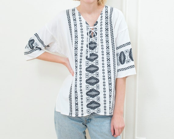 70s black and white cotton hippie blouse   lace up