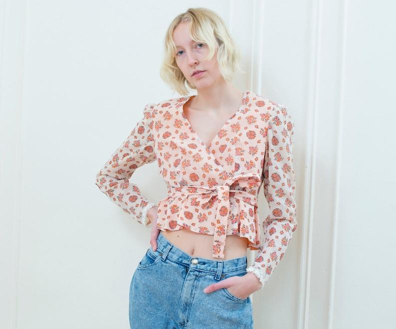 78589ab6c9d5 70s peach floral wrap blouse medium flower print wrap top   Etsy
