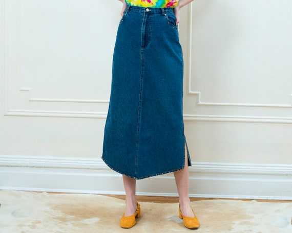 80s denim maxi skirt large | studded jean skirt |