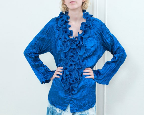 80s blue ruffle collar blouse | micropleat ruffled