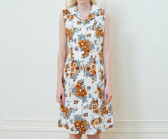 70s brown printed midi dress | sleeveless gingham