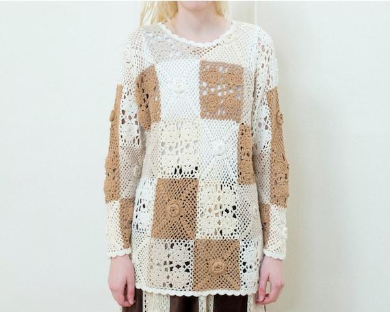 cream crochet knit sweater | 70s patchwork crewnec