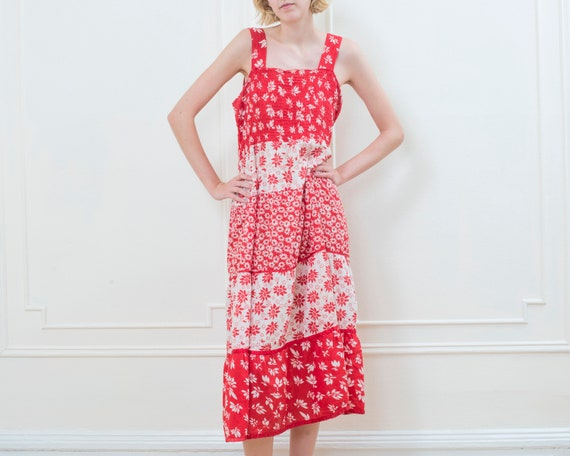 80s red floral patchwork maxi dress | flower print