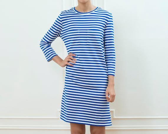 80s blue striped tshirt dress