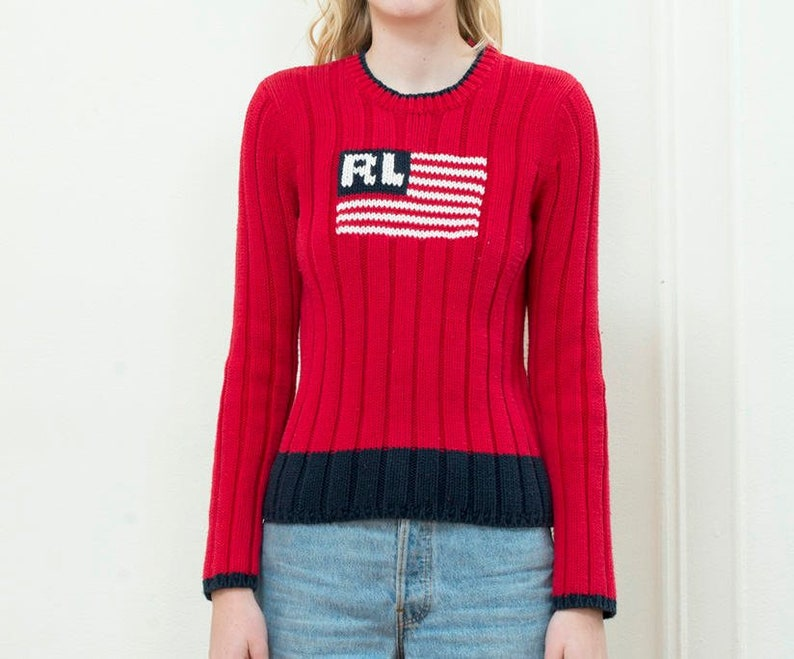 4a5df9d9a315e 90s red american flag knit sweater medium ralph lauren flag