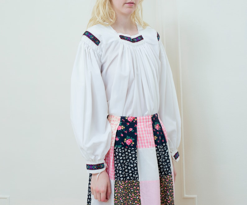 puffy pouf sleeve blouse hippie folk blouse gathered embroidered romantic bohemian blouse 70s white puff sleeve blouse white shirt