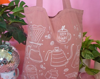 Coffee Icon Tote Bag | Black and Pink