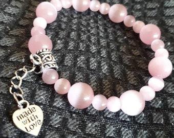 Pink Beaded Bracelet, Pink Women Stretch Bracelet , Glass Beads Bracelet , Bracelet for Women , Mother's Day Gift , Pink Earrings , Adams Je