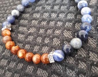 Sodalite beaded bracelet , blue and brown beads bracelet , Gemstone bracelet , Sodalite blue earrings , Women's gift , Amber shell bracelet