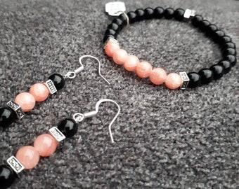 Pink Beaded Bracelets ,Pink Women Stretch Bracelet , Glass Beads Bracelet , Bracelet for Women , Pink Earrings , Made with love Bracelet