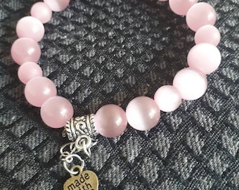 Pink Beaded Bracelets ,Pink Women Stretch Bracelet , Glass Beads Bracelet , Bracelet for Women , Mother's Day Gift , Made with love Bracelet