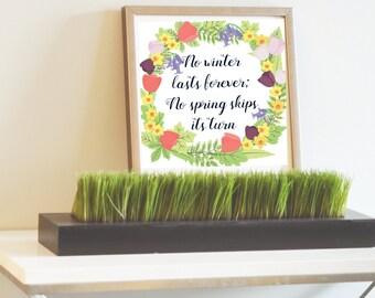 Springtime wreath graphic print