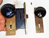 Antique Vintage Set EASTLAKE Backplates Black Porcelain Door Knobs Mortise Lock