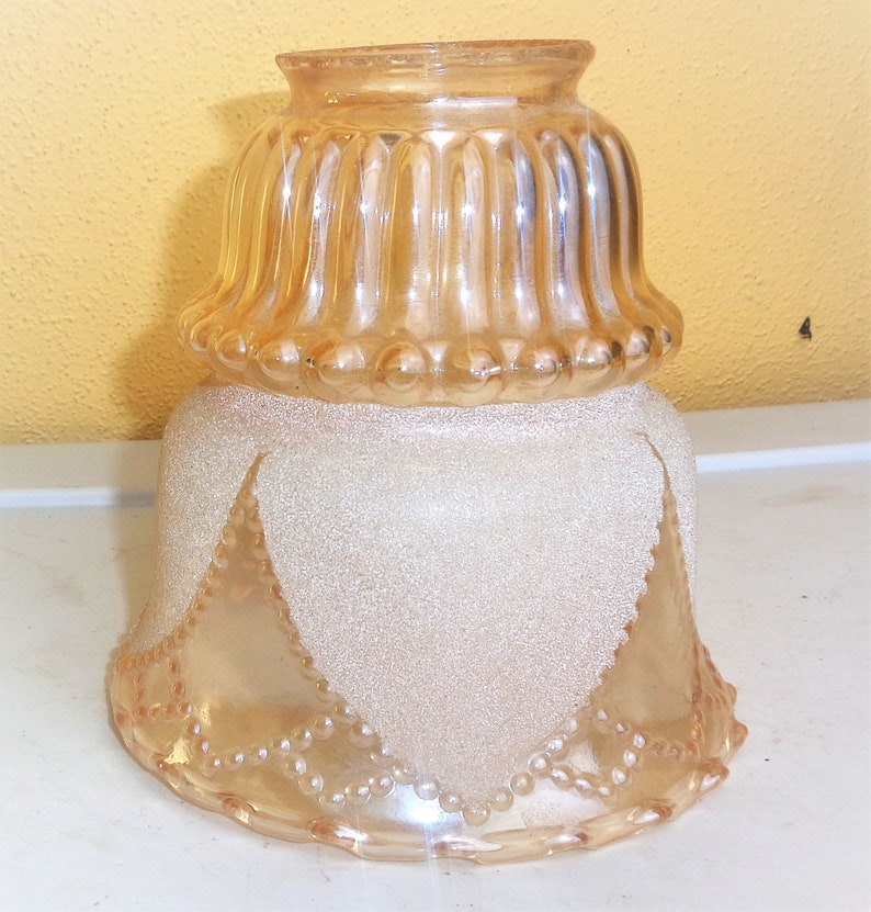 "Vintage Satin Glass Embossed & Ruffled Pendant Lamp Shade for 2 1/4"" Fitter Lamps, Lighting Shades"