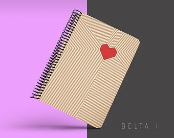 Handmade Minimal Notebook, Blank A5 Recycled Notebook, Grid Eco Friendly Journal, Writing Journal, Spiral Notebook, Writer Gift - DELTA II