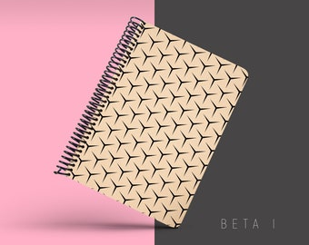 Handmade Minimal Notebook, Blank A5 Recycled Notebook, Grid Eco Friendly Journal, Writing Journal, Spiral Notebook, Writer Gift - BETA I