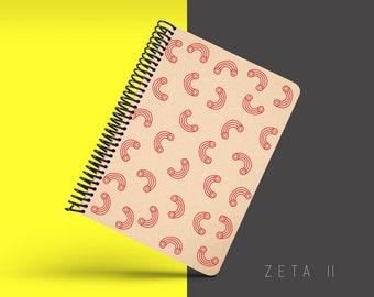 Handmade Minimal Notebook, Blank A5 Recycled Notebook, Grid Eco Friendly Journal, Writing Journal, Spiral Notebook, Writer Gift - ZETA II