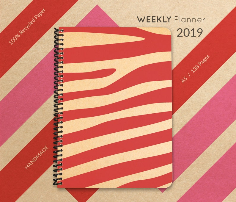 2019 Planner Handmade Minimal Planner A5 Recycled Planner image 0