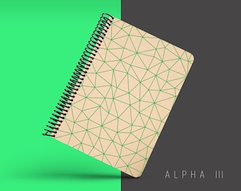 Handmade Minimal Notebook, Blank A5 Recycled Notebook, Grid Eco Friendly Journal, Writing Journal, Spiral Notebook, Writer Gift - ALPHA III